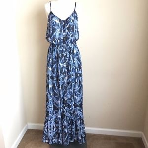 Rieley Blue Printed Button Front Maxi Dress